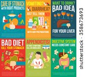 digestion posters set with bad... | Shutterstock .eps vector #358673693