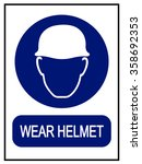 wear safety helmet | Shutterstock .eps vector #358692353