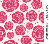 seamless roses pattern | Shutterstock .eps vector #358725197