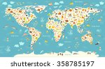 animals world map. beautiful... | Shutterstock .eps vector #358785197
