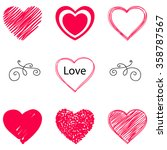 isolated vector hearts set.... | Shutterstock .eps vector #358787567