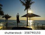 exercise  yoga  in twilight | Shutterstock . vector #358790153