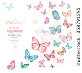 Stock photo invitation card with lovely flying butterflies on white background watercolor painting 358791293