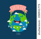 happy earth day poster. vector... | Shutterstock .eps vector #358941773