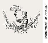 vintage vector hand drawing of... | Shutterstock .eps vector #358946687