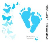baby foot prints with butterfly ... | Shutterstock .eps vector #358949003