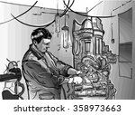 sketch of man and generator.