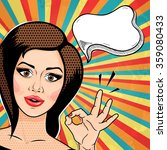 retro pop art young woman...   Shutterstock .eps vector #359080433