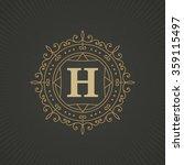 calligraphic monogram emblem... | Shutterstock .eps vector #359115497