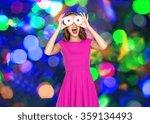 happy woman or teen girl having ...   Shutterstock . vector #359134493