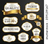 collection of premium quality golden labels design set  | Shutterstock vector #359139167