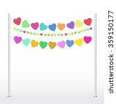 many colorful hearts on a cord... | Shutterstock .eps vector #359150177