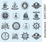 set of vintage nautical labels  ... | Shutterstock .eps vector #359173907