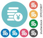 flat yen coins icon set on...