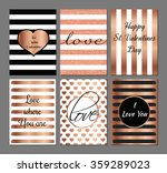 Stock vector vector set valentines day modern cards in rose and black colors 359289023