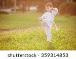 preschool boy practicing karate ... | Shutterstock . vector #359314853