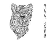 Hand Drawn Leopard With Ethnic...