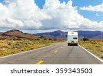 camper trailer on highway in... | Shutterstock . vector #359343503