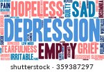 depression word cloud on a... | Shutterstock .eps vector #359387297