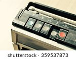Small photo of Dusty old radio with one cassette player, press rewind