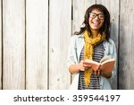 Smiling Casual Woman Reading A...