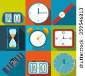 clock icons. set of different...