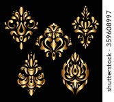 gold vector pattern. floral... | Shutterstock .eps vector #359608997