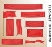 Red textile banners and flags | Shutterstock vector #359640893