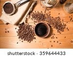 cup of coffee on the wooden... | Shutterstock . vector #359644433