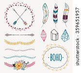 vector colorful ethnic set with ... | Shutterstock .eps vector #359651957