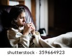 sick woman in bed calling in... | Shutterstock . vector #359664923