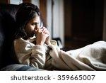 sick woman in bed calling in...   Shutterstock . vector #359665007