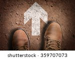 top view of boot on the trail...   Shutterstock . vector #359707073