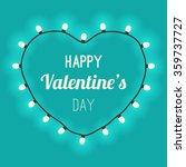 light heart with bulbs on blue... | Shutterstock .eps vector #359737727