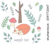 postcard vector. cute fox sleep ... | Shutterstock .eps vector #359772047