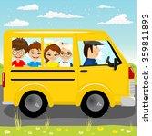 caucasian school kids riding a... | Shutterstock .eps vector #359811893
