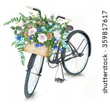 Watercolor Black Bicycle With...