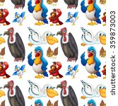 seamless various kind of birds... | Shutterstock .eps vector #359873003