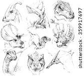 Постер, плакат: Dinosaur sketch set Outline
