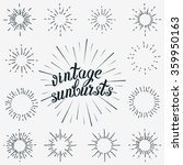 Vector Set of Black Sunbursts Graphic Elements. Vintage labels Isolates on White For Invitations, Greeting Cards, Posters. | Shutterstock vector #359950163
