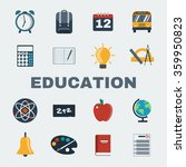 school education round icons... | Shutterstock . vector #359950823