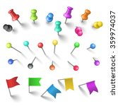 push pins set | Shutterstock .eps vector #359974037