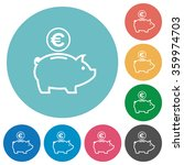 flat euro piggy bank icon set...
