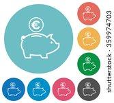 flat euro piggy bank icon set...