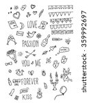 valentine day doodle pack. hand ... | Shutterstock .eps vector #359992697