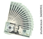 Twenty Dollar Bills Fanned - stock photo