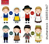 kids in traditional costume ... | Shutterstock .eps vector #360051467