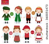 kids in traditional costume ... | Shutterstock .eps vector #360051473