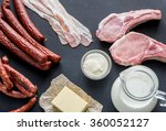 sources of saturated fats | Shutterstock . vector #360052127