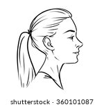young woman face side drawing.... | Shutterstock .eps vector #360101087